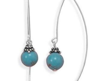 Turquoise Long Wire Earrings
