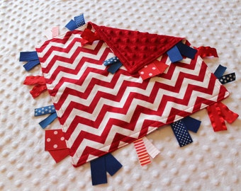 Custom Personalized Tag Minky Sensory Ribbon Blanket Lovey- Red Chevron with  Personalization