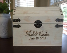 Shabby- chic - rustic- distressed white- country- wedding- card holder- notes- money chest- monogrammed- keepsake box