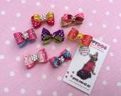 A set of 7 dog hair bows Puppy bows Maltese Shitzu Yorkshire Small dog hair bow Grooming bow Poodle