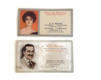 Antique Eyeglass Advertisements, Advertising Ephemera, Paper Ephemera, Antique Ephemera
