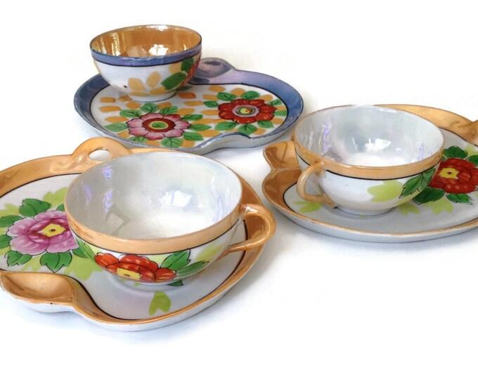Japanese Tea Set, Dessert Plates, Seiei & Co Snack Sets, Eggshell Porcelain Lustreware Made in Japan, Snack Plates