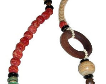 Natural and red coral necklace