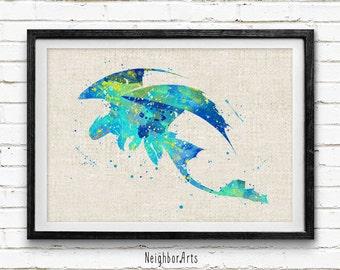 Night Fury Art Print, Dragon Toothless Watercolor Art Poster, Burlap Print, Kids Decor, Wall Art, Home Decor, Buy 2 Get 1 Free! NA236