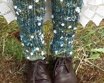 Hand knit leggings, knit yoga leggings, hand knit leg warmers, knit college leg warmers, daisy chain leg warmers, hand knit leg warmers