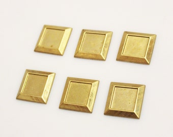 Square Brass Blanks, Geometric Findings, Vintage Jewelry Components (FDS-98)