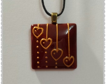 Hand painted Dark red Hearts glass pendant necklace
