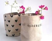 Set of two fabric strorage bins/Fabric planter/Fabric basket/storage box/Nursery storage/ handpainted fabric container/organiser