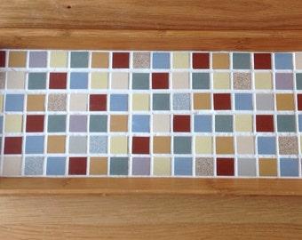 Multi-Coloured Mosaic Bamboo Tray - Fabulous Gift Idea!