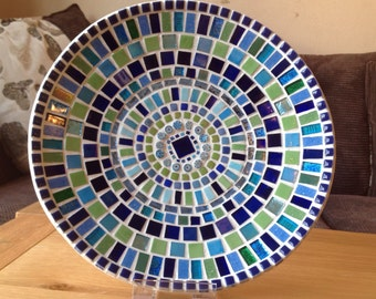 Stunning Mosaic Dish / Bowl in striking shades of Green and ?Blue