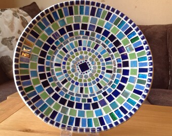 Stunning Mosaic Dish / Bowl in striking shades of Green and Blue