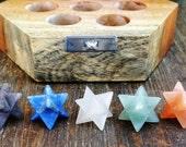 Beautiful 7 Chakra Merkaba Star crystal set in wooden crystal box ~ SZE3
