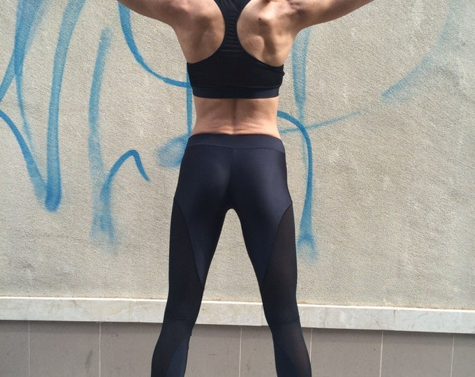 Womens Yoga Black Bra, Compression Tank Top, Workout Bra, Womens Sport Bra, Fitness Design Bra by SSDfashion