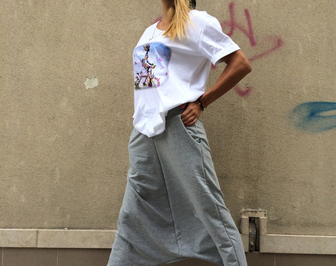 Loose Gray Pants, Extravagant Woman Oversize Trousers, Casual Pants,Drop Crotch Harem Pants, Sports Pants by SSDfashion