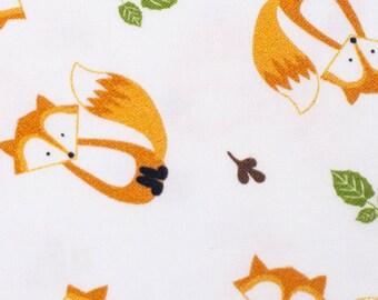 Cotton Fabric Fox, Foxes- White, Orange, Green - Yard, Fat Quarter