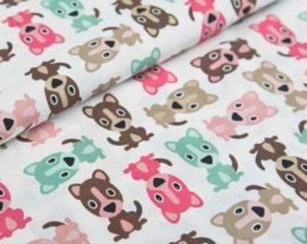 Cotton Fabric Dogs - Pink, Mint, Brown, Tan-  Yard, Fat Quarter
