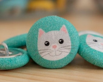 Fabric Covered Buttons - Cat on Mint - 6 Medium Fabric Buttons