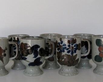 Floral-Motif Stoneware Mugs, Set of 8