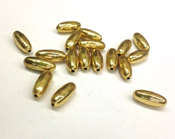 30 Pieces Gold Plated Brass Tube Bead, Small, Vintage