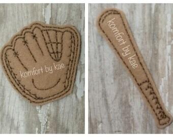 Baseball Glove & Bat Felties- (set of 4) UN-CUT