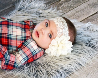 """2"""" ivory stretch lace headband with ivory lace flower, Photo Prop, Baby/Toddler (Buy 3 get 1 FREE!!)"""