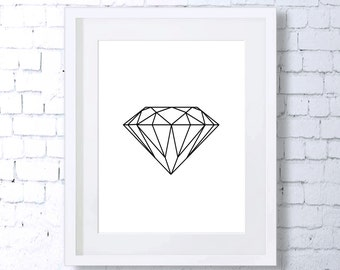 Diamond, Minimalist Art, Minimal Art, Black and White, Wall Print, Home Decor, Geometric Print, Art Print, White, Downloadable Print