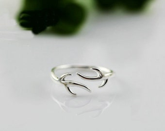 925 Sterling Silver Deer Antler adjustable Ring Midi Ring