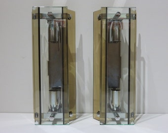 Pair Of Mid-Century Modern Glass And Chrome Sconces By Fontana Arte.