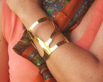 Gold bracelet ,18kt goldplated bronze bracelet,Handmade bracelet,Big bracelet