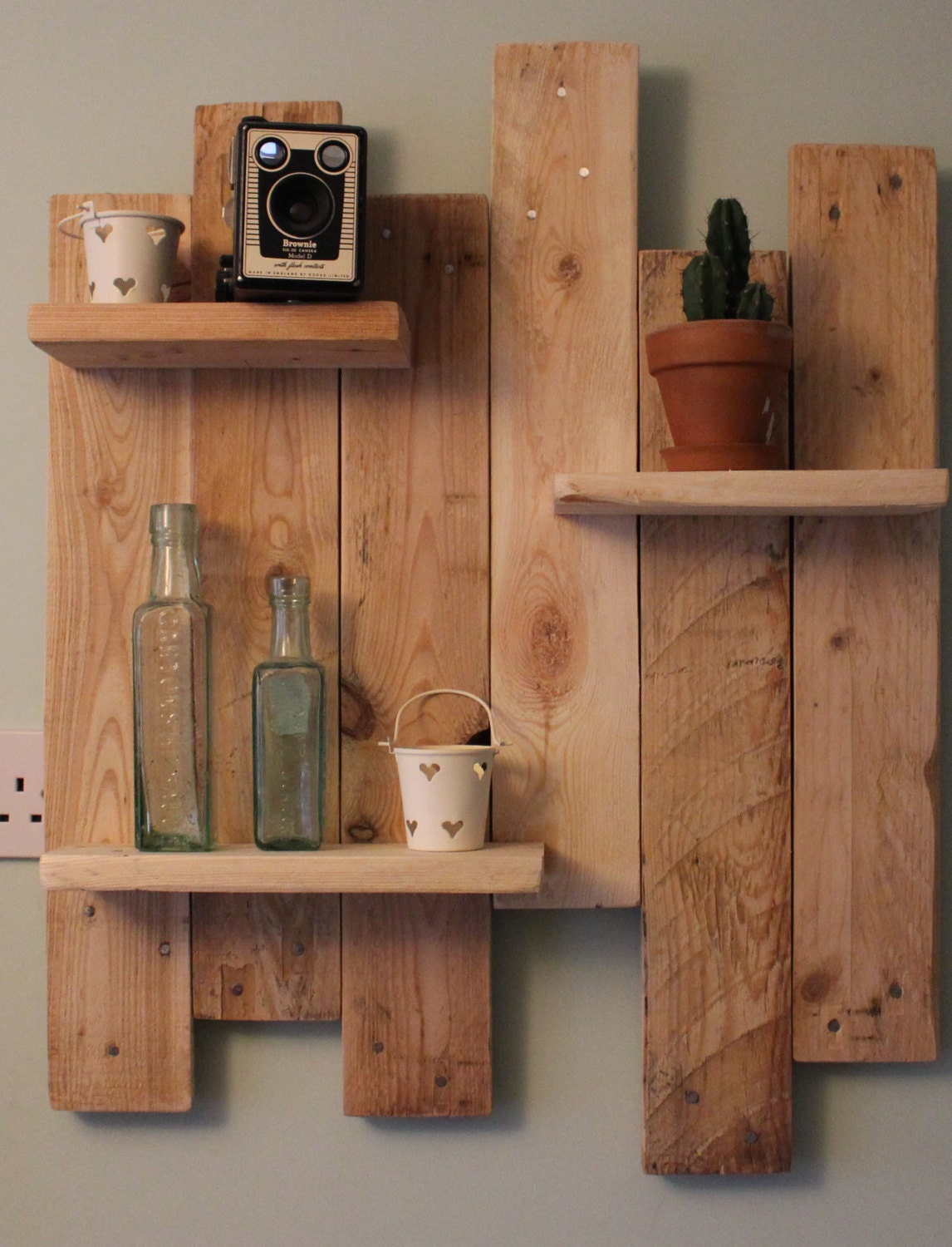 Amazing photo of Reclaimed Pallet Wood Shelves Rustic/Shabby by SunnySideInteriors with #8C603F color and 1146x1500 pixels