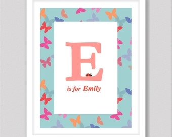 Baby name prints, customised baby letters for wall, letter E, baby name sign, nersery art, nersery decor, baby name letters, baby art print