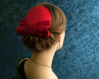 Fascinator Red  Silk