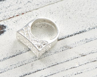 sterling silver block hollow ring