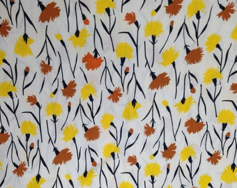 "Yellow and Rust Floral Fabric on White, Smooth Sheeting.  Yardage 32 x 206"".  1960s"