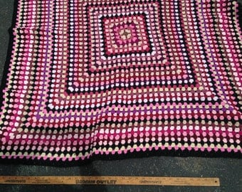 Crochet Trip Around the World AFGHAN.  Washable.  48 in square.  Rose with multi-colors.