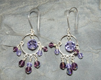 Purple Dangle Swarovski Crystal and Sterling Silver Earrings