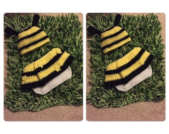 Crochet baby bee outfit, baby girl hats, photo props, baby shower gifts, baby girl outfits, newborn bee outfit