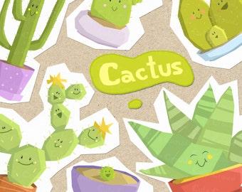 Cactus clip art, cactus, flowers, pot, succulent