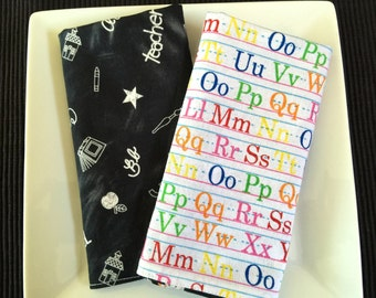 Back To School, Large Reversible Kid's Lunchbox Napkins, Alphabet Print, 100% Cotton. Set of 2.  Eco Friendly, Easy Care.