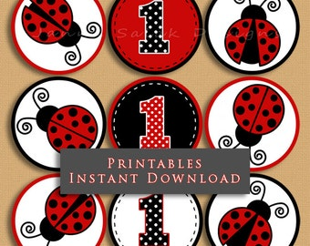 First Birthday Ladybug Cupcake Topper, Cute 1st Birthday Printable Cupcake Toppers Party Gift Tags DIY INSTANT DOWNLOAD