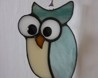 Funny owl stained glass suncatcer.