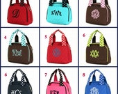 Monogrammed Lunch Bag Small Insulated Lunch Bag Totes Back to School Lunch Tote Toddler Girls Boys Polka Dot Handles