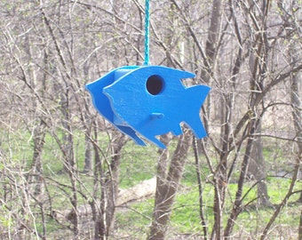 WoodInThings.com Fish shaped Chickadee Birdhouse