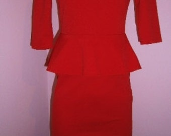 Peplum dress, Red dress, Fashion dress, Woman dress