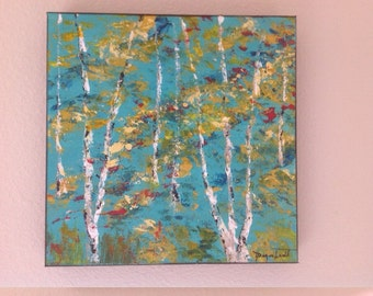 Birch Trees Acrylic on Canvas By P. Degenhardt. New Listing. Free Shipping.