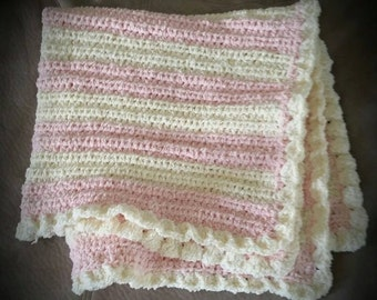 Handmade Crochet Pink and Cream Baby Swaddle/Cot Blanket