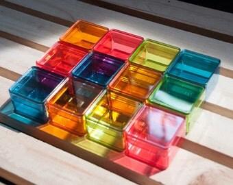 Dozen of tiny color plastic box, mini box, beads box, small packaging, square boxes