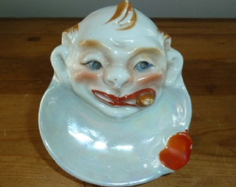 1930s Art Deco Lusterware Porcelain Smoking Man with Cigar Ashtray Made in Japan