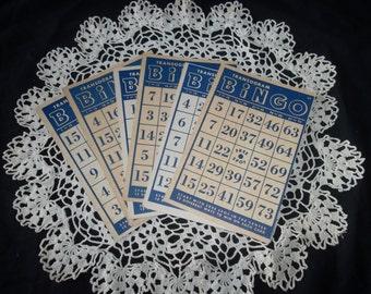6 Vintage Bingo Cards, Transogram, 4in X 6 1/2 in