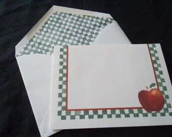 Lil' Apples Vintage Stationery ,1980's, 5 notecards and 5 matching lined envelopes